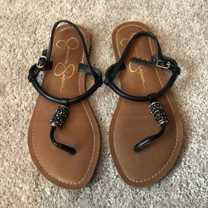 Jessica Simpson Black and Tan Sandals